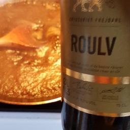 Panden blev deglaceret med lidt balsamico og Roulv fra Frejdahl/Vestfyns, der er en ganske ok øl til prisen. Den har en fin fylde med både lidt lakridsnoter og røg.